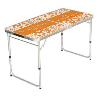Table Beerpong Jour orange géométrique