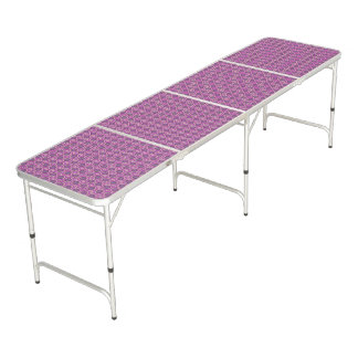 Table Beerpong Motif floral assez rose