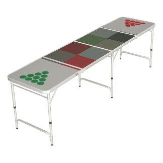 Table Beerpong Plaid moderne de Noël Conception-Rouge/vert