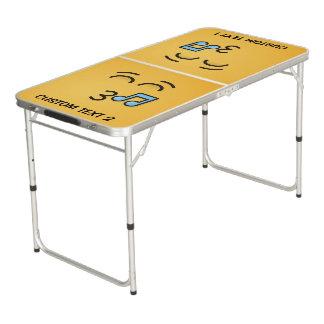 Table Beerpong Visage siffleur avec les yeux de sourire
