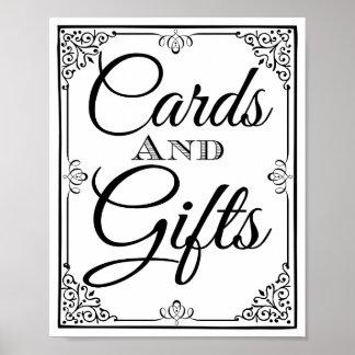 Table de cartes et de cadeaux de signe de mariage affiches