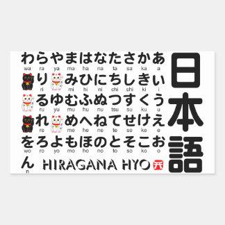 Table japonaise de Hiragana (alphabet) Stickers Rectangulaires