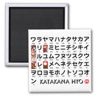 Table japonaise de katakanas (alphabet) magnet carré