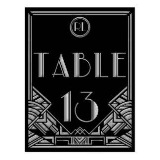 Tableau argenté noir numéro 13 de style de Gatsby Carte Postale