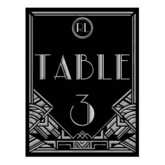 Tableau argenté noir numéro 3 de style de Gatsby d Cartes Postales