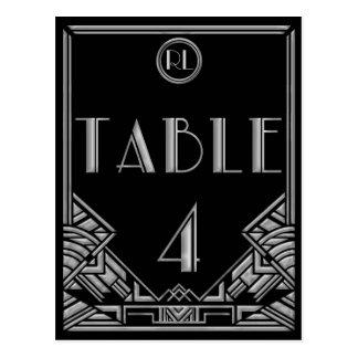 Tableau argenté noir numéro 4 de style de Gatsby d Carte Postale