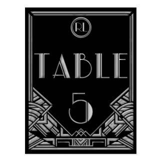 Tableau argenté noir numéro 5 de style de Gatsby d Carte Postale
