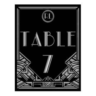 Tableau argenté noir numéro 7 de style de Gatsby d Cartes Postales