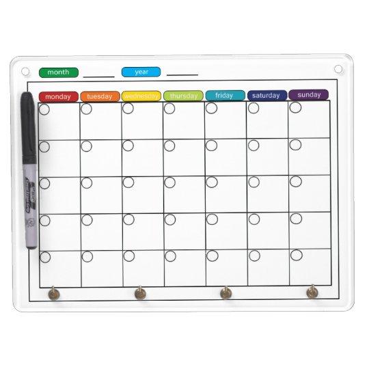 tableau blanc mensuel de calendrier