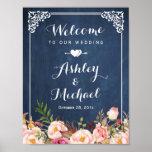 Tableau bleu vintage de signe de mariage floral