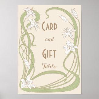 Tableau de cadeau de mariage de lis blancs posters
