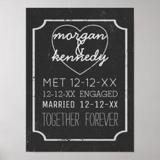 Tableau de Faux engagé marié ensemble pour Posters
