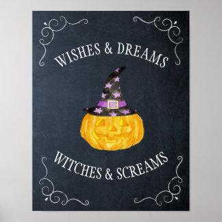 Tableau de Halloween de cris perçants de sorcières