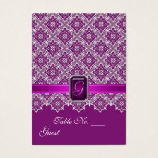 Tableau de mariage de dentelle de prune et cartes de visite