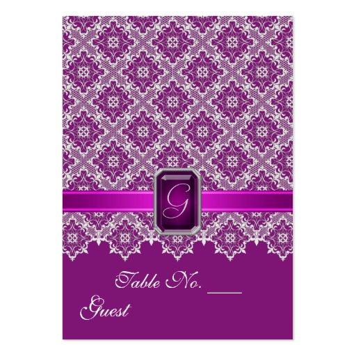 Tableau de mariage de dentelle de prune et d'argen modèles de cartes de visite