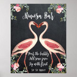 Tableau de signe de mariage de barre de mimosa de