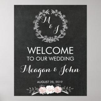 Tableau de signe de mariage de monogramme moderne