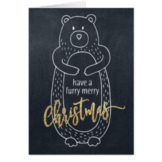 Tableau drôle d'ours de carte de Noël