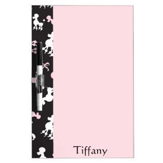 Tableau Effaçable À Sec Affichage assez rose et noir de caniche