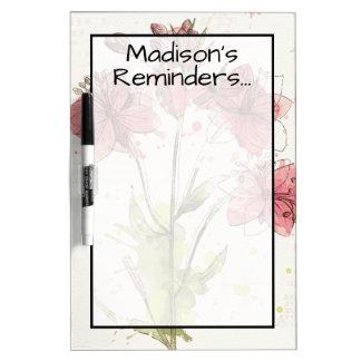 Tableau Effaçable À Sec Ajoutez votre éclaboussure rose foncée | florale