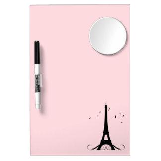 Tableau Effaçable À Sec Avec Mirroir Tour Eiffel rose de Paris
