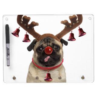 Tableau Effaçable À Sec Avec Porte-clés Andouillers de carlin - carlin de Noël - Joyeux