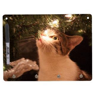 Tableau Effaçable À Sec Avec Porte-clés Chats et lumières - chat de Noël - arbre de Noël