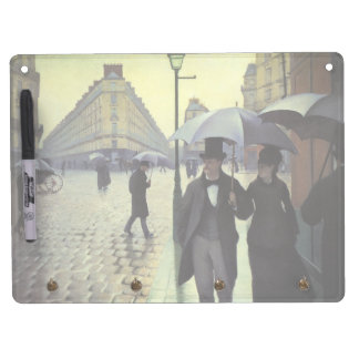 Tableau Effaçable À Sec Avec Porte-clés Jour pluvieux de rue de Paris par Gustave