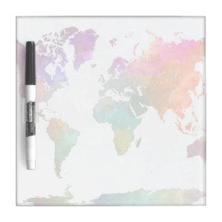 Tableau Effaçable À Sec Carte du monde dans l'aquarelle