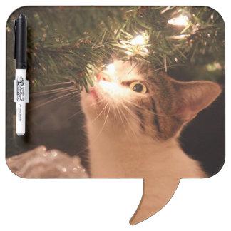 Tableau Effaçable À Sec Chats et lumières - chat de Noël - arbre de Noël