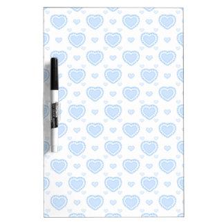 Tableau Effaçable À Sec Coeurs bleus et blancs romantiques