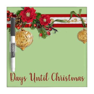 Tableau Effaçable À Sec Compte à rebours de Noël
