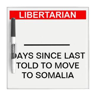 Tableau Effaçable À Sec Compteur libertaire de jour de la Somalie