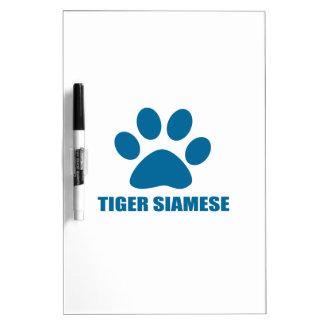 TABLEAU EFFAÇABLE À SEC CONCEPTIONS DE CAT SIAMOIS DE TIGRE