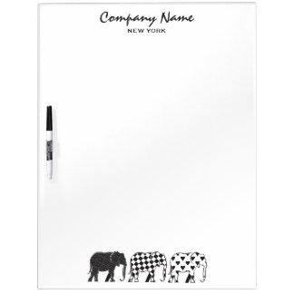 Tableau Effaçable À Sec Elephant Stylish Black White Modern Company
