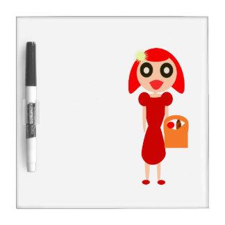 Tableau Effaçable À Sec Fille rouge de cheveux avec le panier