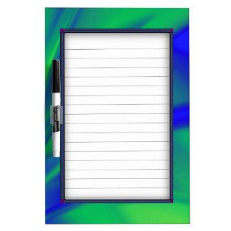 Tableau Effaçable À Sec Flux de bleu et de vert avec des lignes
