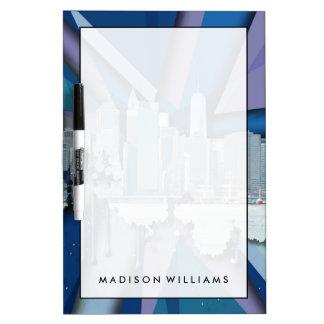 Tableau Effaçable À Sec Horizon | 3D bleu de New York City