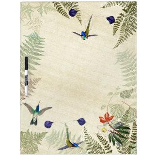 Tableau Effaçable À Sec La fougère bleue d'oiseaux de colibri florale