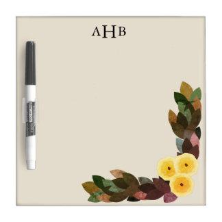 Tableau Effaçable À Sec Lettres initiales jaunes de fleurs et de feuille
