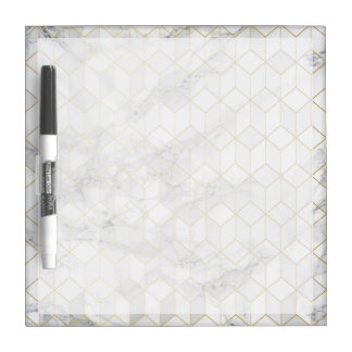 Tableau Effaçable À Sec Marbre blanc avec le motif de cube en or
