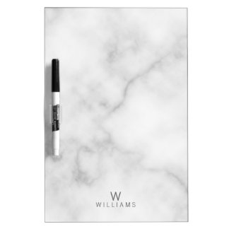 Tableau Effaçable À Sec Monogramme de marbre blanc minimaliste moderne