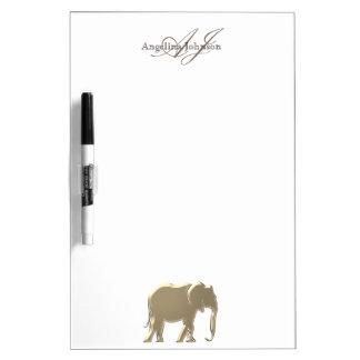 Tableau Effaçable À Sec Monogramme élégant d'or de grès d'éléphant chic