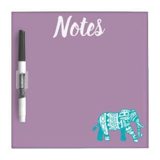 Tableau Effaçable À Sec Notes tribales turquoises d'éléphant de style de