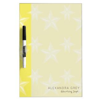 Tableau Effaçable À Sec Or jaune avec de grandes étoiles de blanc modelées
