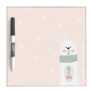 Tableau Effaçable À Sec Ours blanc - laissez-le neiger - hiver/Noël