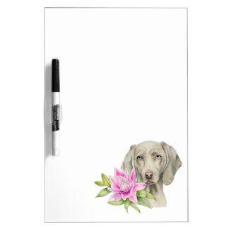 Tableau Effaçable À Sec Peinture d'aquarelle de chien et de lis de