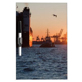 Tableau Effaçable À Sec Port de Hambourg de coucher du soleil