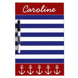 Tableau Effaçable À Sec Rayures bleues blanches rouges nautiques avec des