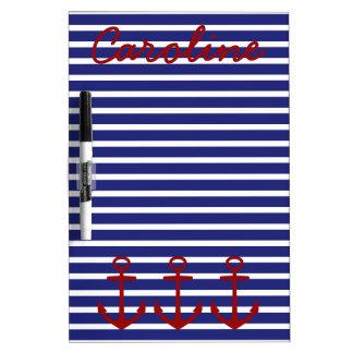Tableau Effaçable À Sec Rayures bleues et blanches nautiques avec les